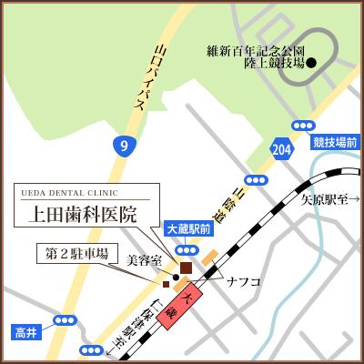 地図:〒753-0871 山口県山口市朝田902-7 上田歯科医院